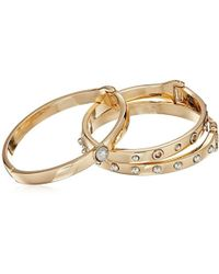 Guess - Three-piece Hinge Bangle Set With Studs - Two-tone (gold/silver) Bracelet - Lyst