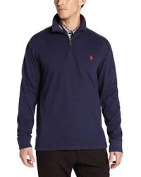 U.S. POLO ASSN. - Sueded-jersey Quarter-zip Mock-neck Pullover - Lyst