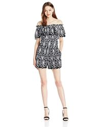 46fbc59f56a4 Laundry by Shelli Segal - Off The Shoulder Embroidered Eyelet Romper - Lyst