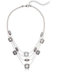 Napier - Silver With Antique Multirow Necklace - Lyst