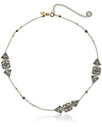 Miguel Ases - Three Station Triangle Enclosed Square Swarovski Chain Necklace - Lyst