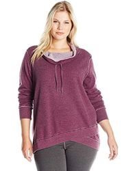 Calvin Klein - Performance Plus Size Distressed Fleece And Thermal Top - Lyst