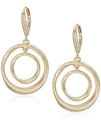 Kenneth Cole - Sculptural Orbital Drop Earrings, Shiny Gold, One Size - Lyst