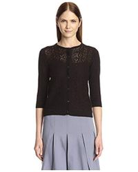 SOCIETY NEW YORK - Crew Neck Lace Front Cardigan - Lyst