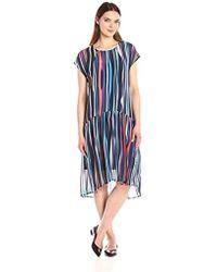 Anne Klein - Dropped Waist Printed Georgette T-shirt Dress - Lyst