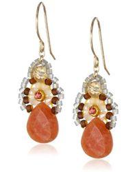 "Miguel Ases - Orange Jade And Created Quartz Drop Earrings, 1.4"" - Lyst"