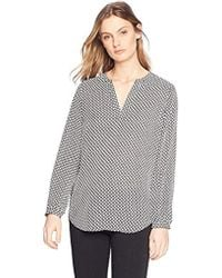 Adrianna Papell - Long Sleeve Printed Blouse - Lyst