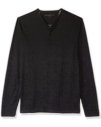John Varvatos - Long Sleeved Button Front Henley - Lyst