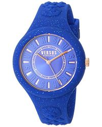 Versus - 'fire Island Glitter' Quartz Stainless Steel And Silicone Casual Watch, Color:blue (model: Vspoq1917) - Lyst
