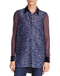 916679fd618d13 Lyst - Elie Tahari Martha Floral Velvet Blouse in Blue