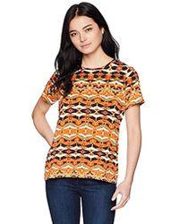 Rafaella - Petite Printed Embellished Knit Tee - Lyst