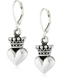 "King Baby Studio - ""crowned Heart"" Small 3d Crowned Heart Leverback Earrings - Lyst"