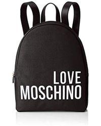 Love Moschino Canvas Backpack Handbag - Black