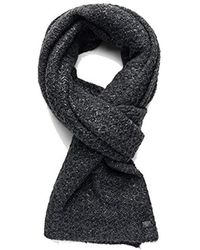 Replay - Knit Scarf In Black With Metallic Detailing - Lyst