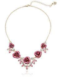 Betsey Johnson - S Glitter Rose Necklace Rose - Lyst