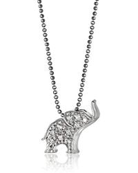 """Alex Woo - Little Luck Diamond And 14k White Gold Elephant Pendant Necklace, 16"""" - Lyst"""