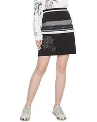 Desigual - Black Polyester Skirt - Lyst