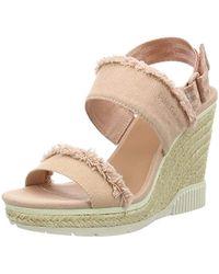 Calvin Klein - ''s Lael Fringe Canvas Peeptoe Court Shoes - Lyst