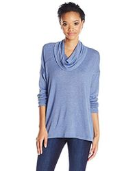 Jones New York - Marl Gauze Cowl Neck Drape Hem Top - Lyst