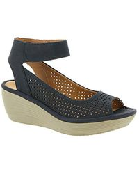 571189500c6a Lyst - Clarks Reedly Salene Wedge Sandals in Blue