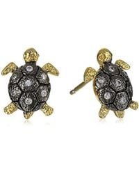 Tai - Gold Turtle Post Stud Earrings - Lyst