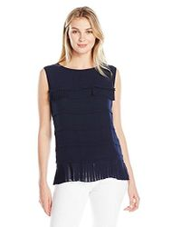 Lark & Ro - Sleeveless Tiered Blouse With Ruffle Trim - Lyst