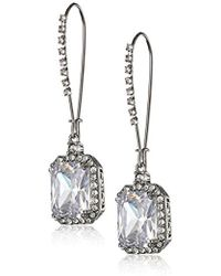 "Betsey Johnson - ""cz Ears"" Crystal Cubic Zirconia Square Long Drop Earrings - Lyst"