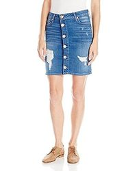 True Religion - Pencil Skirt In Bowie Blue Destroyed - Lyst