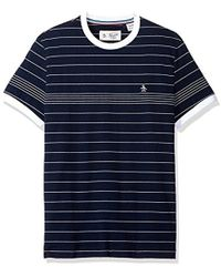 Original Penguin - Short Sleeve Slim Fit Engineered Fine Stripe Tee - Lyst