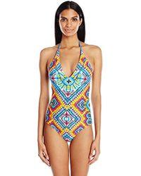 Jessica Simpson - Surfside Tye Dye Lace Back Maillot One-piece Swimsuit - Lyst
