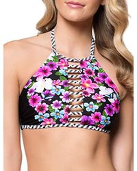 62fc0cbb45379 Jessica Simpson - Botanica Floral And Geo Printed Hi-neck Bandeau  Adjustable Tie Back Bikini
