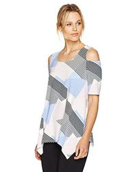 Adrianna Papell - Printed Crew Neck Short Sleeve Cold Shoulder Shark Bite - Lyst
