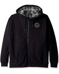Hurley - Flannel Lined Zip Up Two Layer Hoodie With Patch Detail - Lyst