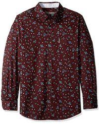 Ben Sherman Menssa18f90611ls Tnl Paisley Prnt Shirt Long Sleeve Button Down Shirt - Red