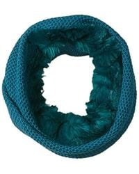 Badgley Mischka - Honeycomb Stitch Collar Scarf With Faux Chinchilla - Lyst