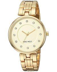 Nine West - Nw/2100chgb Crystal Accented Gold-tone Bracelet Watch - Lyst