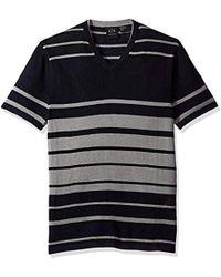 Armani Exchange - | Linen Blend Short Sleeve Stripe Knit - Lyst