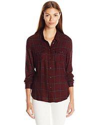 PAIGE - Mya Plaid Shirt-black/deep Syrah - Lyst