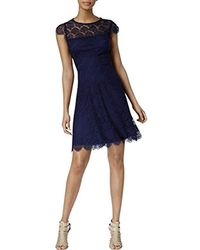 Jessica Simpson - Capped Sleeved Lace Fit And Flare Dress - Lyst