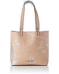 Calvin Klein - Inside Out Med Shopper Splash, 's Tote, Silver (nude Splash Print), 10.5x27x28 Cm (b X H T) - Lyst