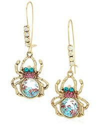 Betsey Johnson - Halloween Spider With Shaky Stones Drop Earrings - Lyst