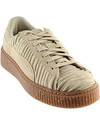 36e10ace839435 Lyst - Puma Basket Platform Ow Quarry Quarry Whisper White Lace Up ...