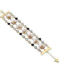 Guess - S Floral Motif Line Bracelet - Lyst