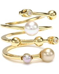 Majorica - 4mm Multi-pearls With Cubic Zirconia On Endless Sterling Silver Ring, Size 7 - Lyst