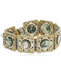 Miguel Ases - Abalone And Swarovski Square Linked Magnetic Bracelet - Lyst
