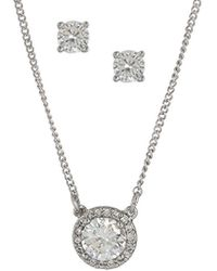 Nine West - Nw Boxed Gifting Cubic Zirconia Round Shape Necklace And Earrings Jewelry Set - Lyst