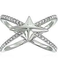 "Michael Kors - ""brilliance"" Starburst Pave Silver-tone Open Ring - Lyst"