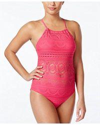 Kenneth Cole Reaction - Crochet Buns Out Hi Neck Mio Swimsuit - Lyst