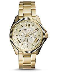 Fossil - Am4570 Cecile Gold-tone Stainless Steel Watch - Lyst