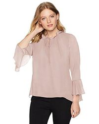 Ellen Tracy - Petite Full Sleeve Blouse With Tie - Lyst